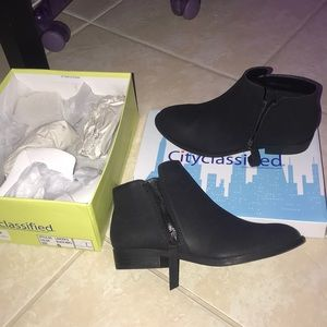 Low heel black ankle booties- never been worn